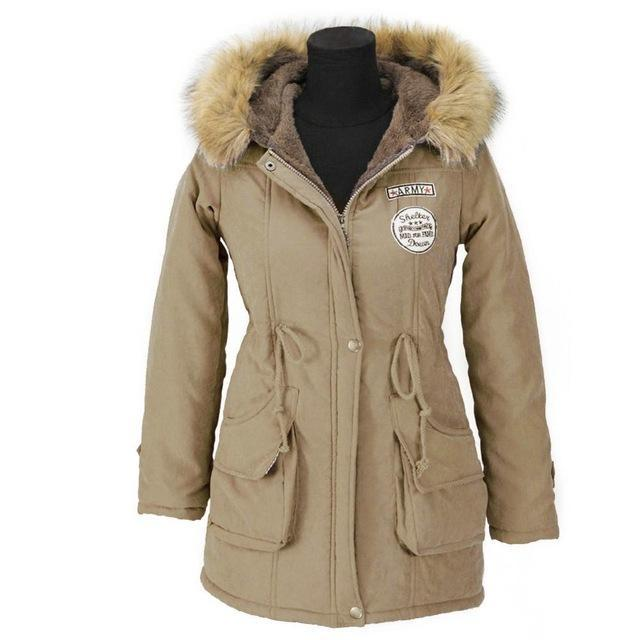 Aonibeier Winter Women Jacket Artificial Fur Collar Hooded Coat Warm Jacket Female Outerwear-Jackets & Coats-aonibeier Official Store-Khaki-S-EpicWorldStore.com