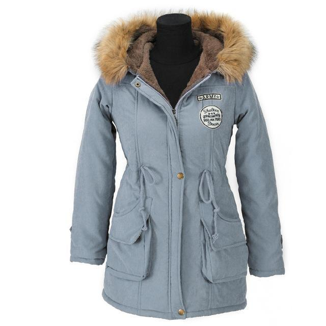 Aonibeier Winter Women Jacket Artificial Fur Collar Hooded Coat Warm Jacket Female Outerwear-Jackets & Coats-aonibeier Official Store-Light Blue-S-EpicWorldStore.com