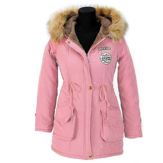 Aonibeier Winter Women Jacket Artificial Fur Collar Hooded Coat Warm Jacket Female Outerwear-Jackets & Coats-aonibeier Official Store-Light Pink-S-EpicWorldStore.com
