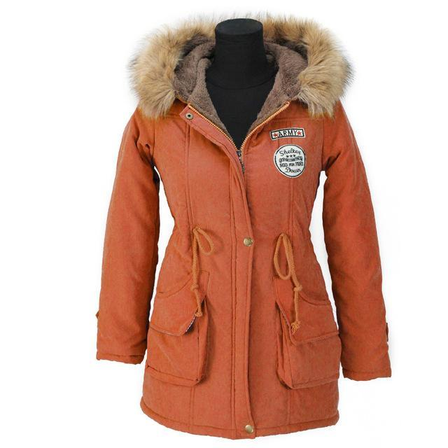 Aonibeier Winter Women Jacket Artificial Fur Collar Hooded Coat Warm Jacket Female Outerwear-Jackets & Coats-aonibeier Official Store-Orange-S-EpicWorldStore.com