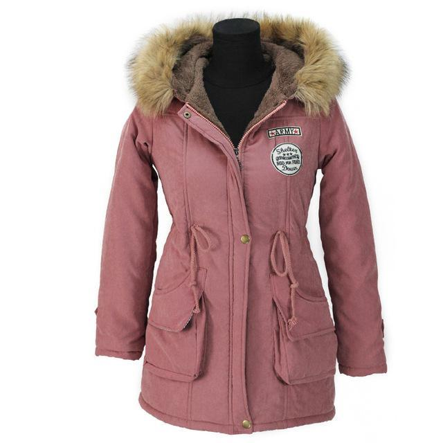 Aonibeier Winter Women Jacket Artificial Fur Collar Hooded Coat Warm Jacket Female Outerwear-Jackets & Coats-aonibeier Official Store-Pink-S-EpicWorldStore.com