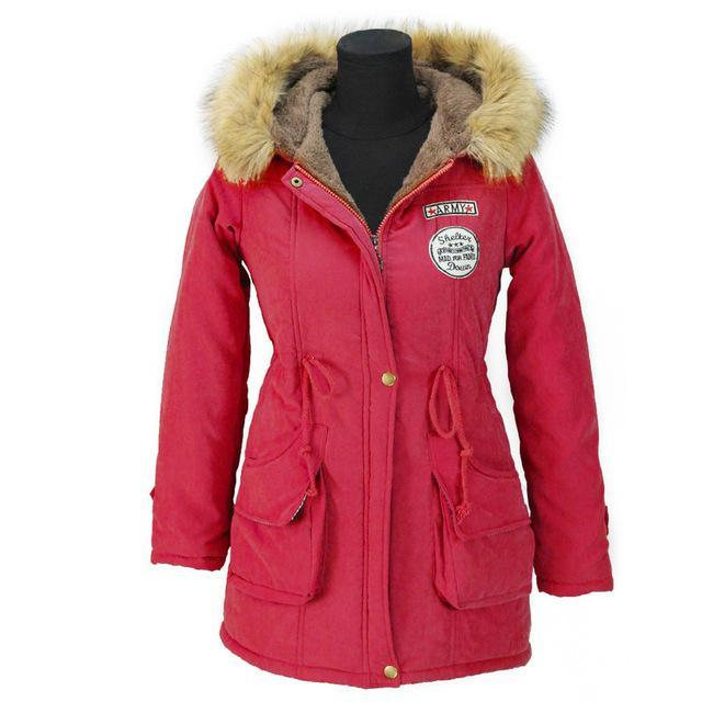 Aonibeier Winter Women Jacket Artificial Fur Collar Hooded Coat Warm Jacket Female Outerwear-Jackets & Coats-aonibeier Official Store-Red-S-EpicWorldStore.com