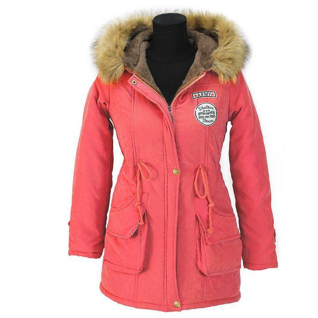 Aonibeier Winter Women Jacket Artificial Fur Collar Hooded Coat Warm Jacket Female Outerwear-Jackets & Coats-aonibeier Official Store-Watermelon-S-EpicWorldStore.com