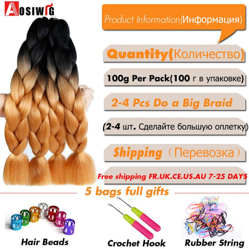 Aosiwig 24Inch Jumbo Braids Synthetic Kanekalon Hair Braids Ombre Braiding Hair Crochet Braids-aosiwig Official Store-T1B/613-EpicWorldStore.com