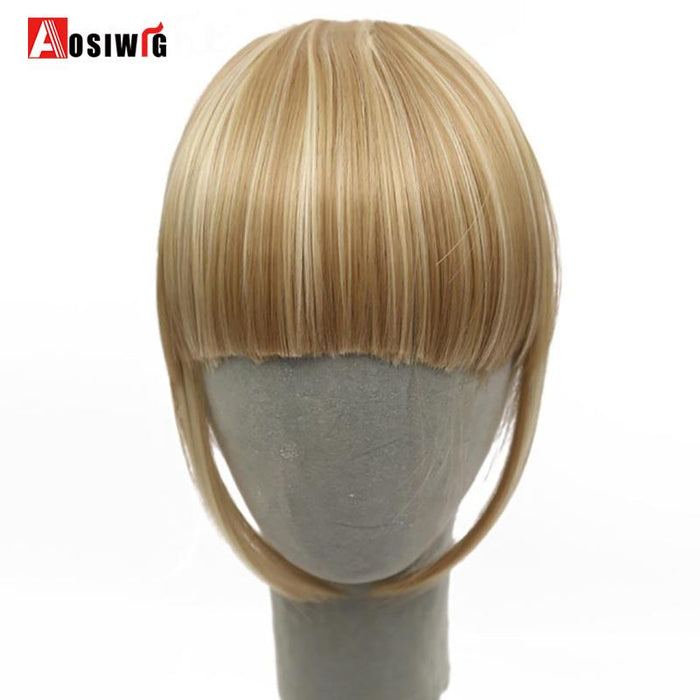 Aosiwig Fringe Clips Bangs Clip In Hair Extensions Fake Bangs Heat