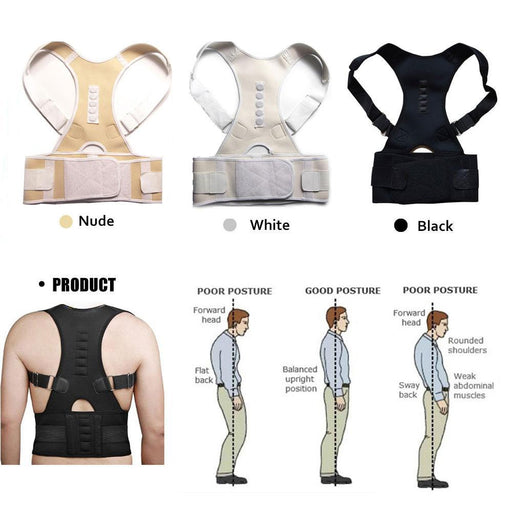 Aptoco Magnetic Therapy Posture Corrector Brace Shoulder Back Support Belt For Men Women Braces &-Health Care-YSD FACTORY DIRECT STORE-White-XL-EpicWorldStore.com