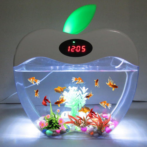 Aquarium Usb Mini Aquarium With Led Night Light Lcd Display Screen And Clock Fish Tank Personalise-Aquariums & Tanks-BRLight Store-White-One Size-EpicWorldStore.com