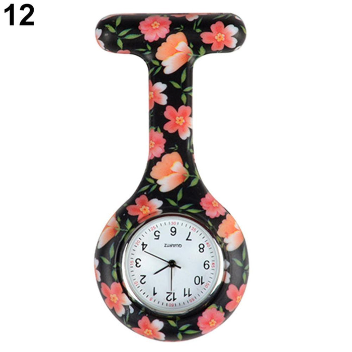 Arabic Numerals Round Dial Silicone Nurses Brooch Tunic Fob Pocket Watch-Pocket & Fob Watches-2017 watch Store-1-EpicWorldStore.com