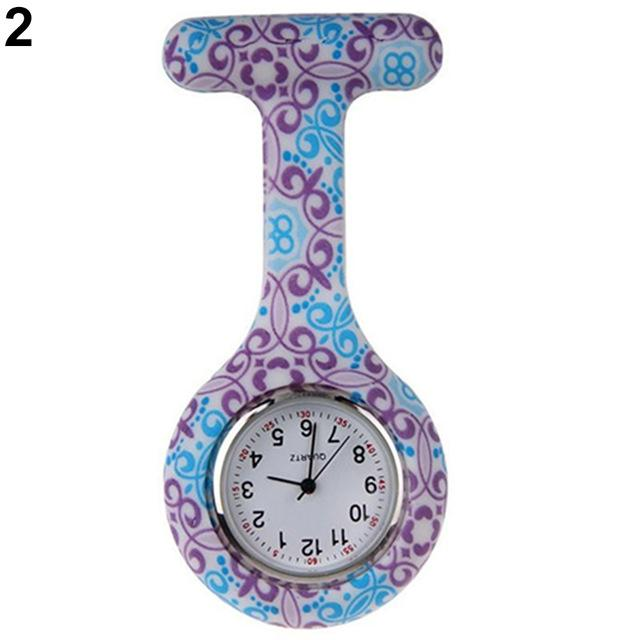 Arabic Numerals Round Dial Silicone Nurses Brooch Tunic Fob Pocket Watch-Pocket & Fob Watches-2017 watch Store-2-EpicWorldStore.com