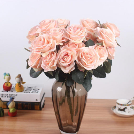 Artificial Silk 1 Bunch French Rose Floral Bouquet Fake Flower Arrange Table Daisy Wedding Flowers-Festive & Party Supplies-JAROWN Official Store-Beige-EpicWorldStore.com
