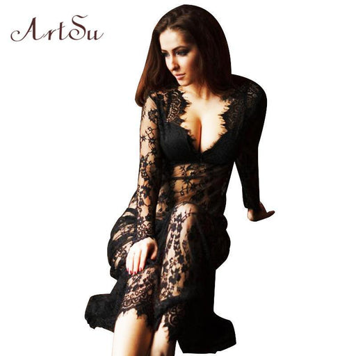 Artsu Women Floor-Length Black White Summer Lace Dress Adjust Waist Stylish See Through Hollow Out-Dresses-ArtSu Store-Black-S-EpicWorldStore.com