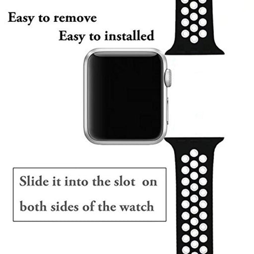 Ashei Soft Silicone Wristband For Apple Watch 42Mm Series 3 2 1 Sport Band Replacement Strap-Watch Accessories-JunTan Store-Black Green-38mm S M-EpicWorldStore.com