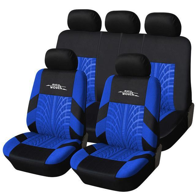 Autoyouth Tire Track Detail Style Universal Car Seat Covers Fits Most Brand Vehicle Seat-Interior Accessories-AUTOYOUTH Official Store-Blue-EpicWorldStore.com
