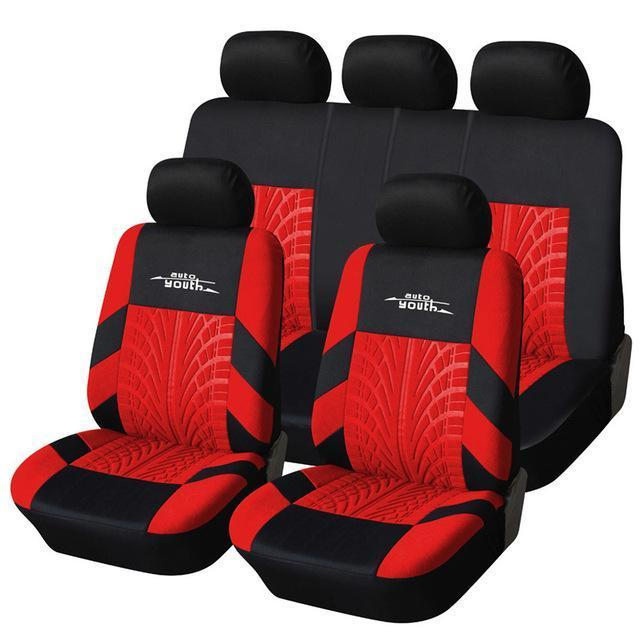 Autoyouth Tire Track Detail Style Universal Car Seat Covers Fits Most Brand Vehicle Seat-Interior Accessories-AUTOYOUTH Official Store-Red-EpicWorldStore.com