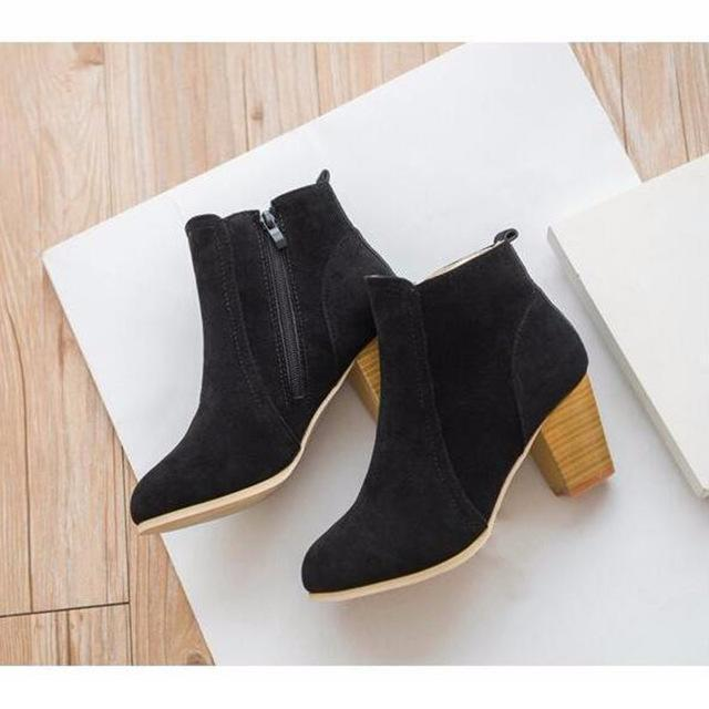 c5ff28ab5c0 Autumn And Winter Short Cylinder Boots With High Heels Boots Shoes ...