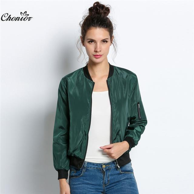 Autumn Bomber Jacket Women Long Sleeve Basic Coats Casual Thin Slim Outerwear Short Ma1-Jackets & Coats-Chonior Store-Army Green-S-EpicWorldStore.com