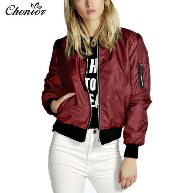 Autumn Bomber Jacket Women Long Sleeve Basic Coats Casual Thin Slim Outerwear Short Ma1-Jackets & Coats-Chonior Store-Red-S-EpicWorldStore.com