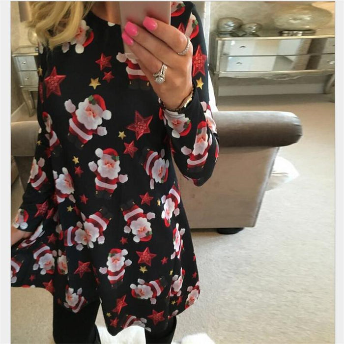 Autumn Elegant Plus Size Women Clothing Casual Christmas Print Dresses A-Line Dress-Dresses-Evan Co. Ltd-0213-S-EpicWorldStore.com