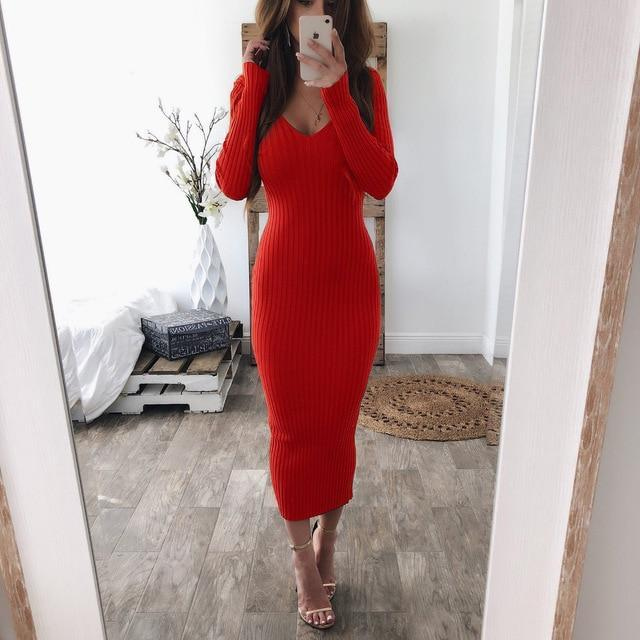 Autumn Knitted Sweater Women Long Dress Bodycon V Neck Long Sleeve Sexy Midi Dresses Winter-Dresses-CYL007 Store-Red-S-EpicWorldStore.com