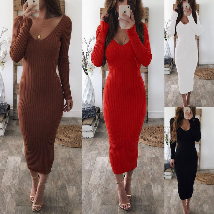 Autumn Knitted Sweater Women Long Dress Bodycon V Neck Long Sleeve Sexy Midi Dresses Winter-Dresses-CYL007 Store-WHITE-S-EpicWorldStore.com