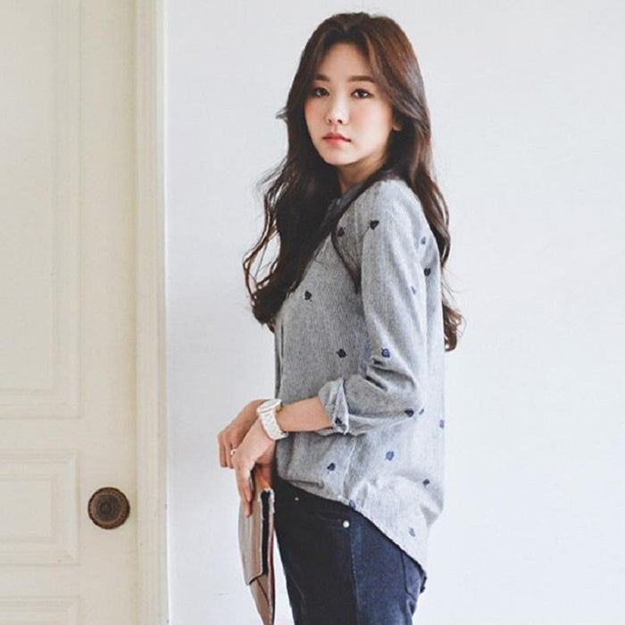 Autumn Leaves Embroidery Long Sleeve Women Blouses And Shirts Female Ladies Casual Shirt Tops-Blouses & Shirts-women's fashion clothes store-XS-EpicWorldStore.com