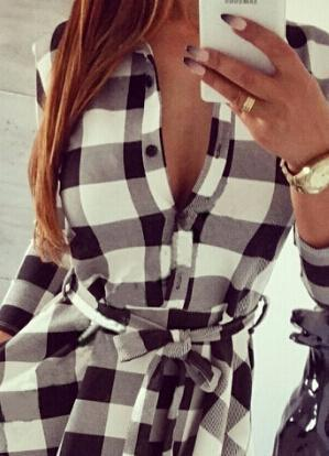 Autumn Plaid Dresses Explosions Leisure Vintage Dress Fall Women Check Print Spring Casual-Dresses-Smile Fish Fashion (Offer Drop Shipping)-Gray-S-EpicWorldStore.com