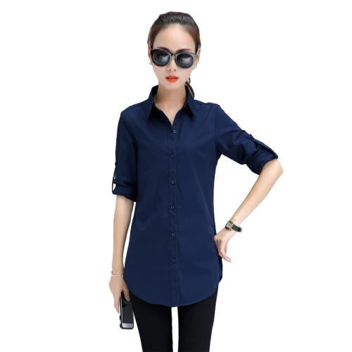 Autumn Spring Women Long White Shirts Size S-3Xl All-Match Good Quality Long Sleeve Lady Casual-Blouses & Shirts-TLZC-Blue-S-EpicWorldStore.com