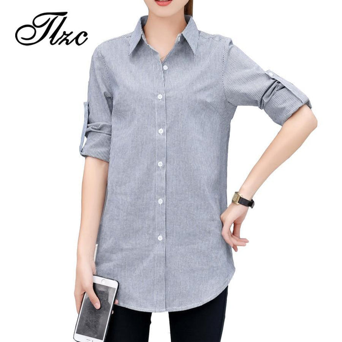 Autumn Spring Women Long White Shirts Size S-3Xl All-Match Good Quality Long Sleeve Lady Casual-Blouses & Shirts-TLZC-Striped-S-EpicWorldStore.com