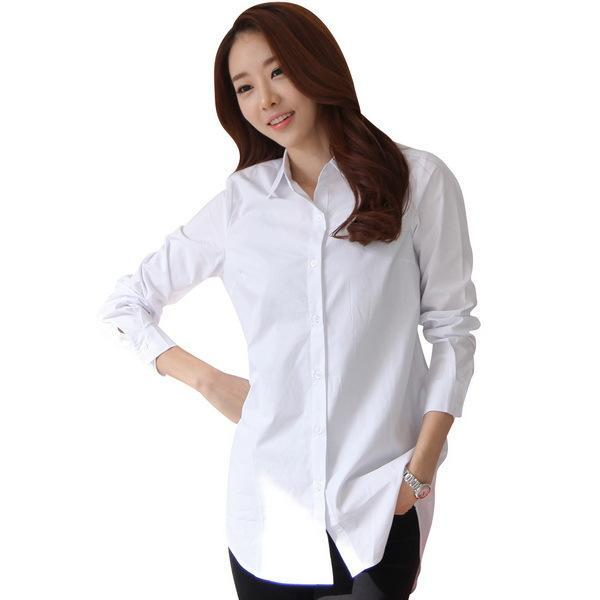 Autumn Spring Women Long White Shirts Size S-3Xl All-Match Good Quality Long Sleeve Lady Casual-Blouses & Shirts-TLZC-White-S-EpicWorldStore.com