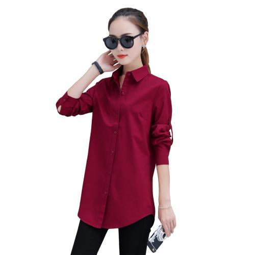 Autumn Spring Women Long White Shirts Size S-3Xl All-Match Good Quality Long Sleeve Lady Casual-Blouses & Shirts-TLZC-Wine Red-S-EpicWorldStore.com