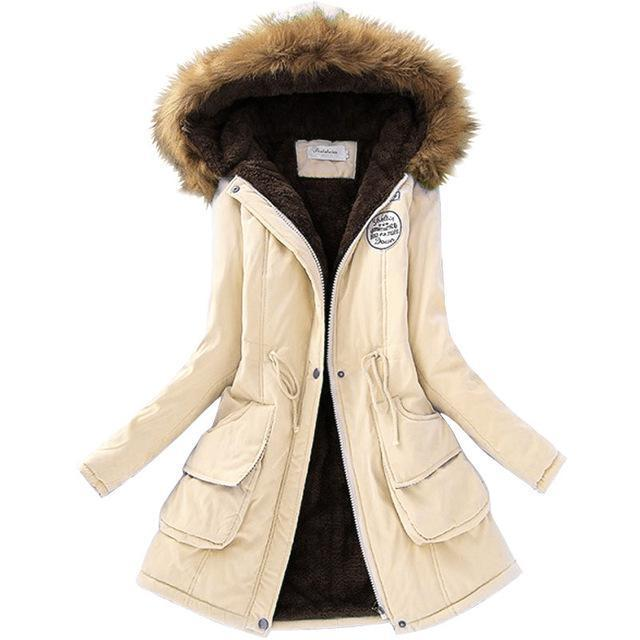 Autumn Warm Winter Jacket Women Womens Fur Collar Coats Jackets For Lady Long Slim Down-Jackets & Coats-Shop637411 Store-Cream-S-EpicWorldStore.com