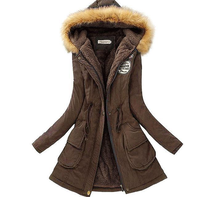 Autumn Warm Winter Jacket Women Womens Fur Collar Coats Jackets For Lady Long Slim Down-Jackets & Coats-Shop637411 Store-Dark Brown-S-EpicWorldStore.com