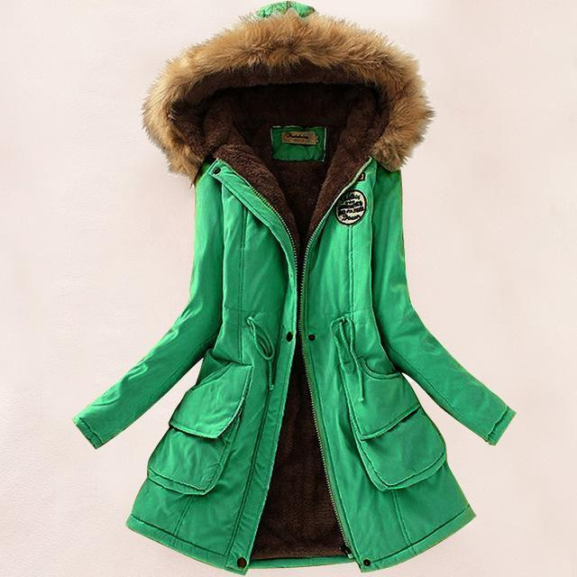 Autumn Warm Winter Jacket Women Womens Fur Collar Coats Jackets For Lady Long Slim Down-Jackets & Coats-Shop637411 Store-Grass Green-S-EpicWorldStore.com