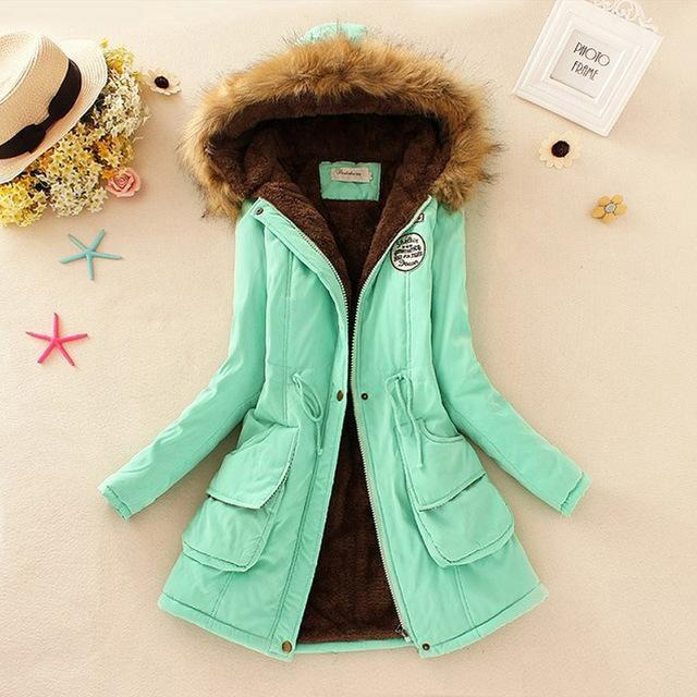 Autumn Warm Winter Jacket Women Womens Fur Collar Coats Jackets For Lady Long Slim Down-Jackets & Coats-Shop637411 Store-Light Green-S-EpicWorldStore.com