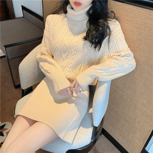 Autumn Winter Knitting Sweater Dress Ladies Turtleneck A Line Party Dress Empire Women Pullover-Home-Shop4289023 Store-Black-One Size-EpicWorldStore.com