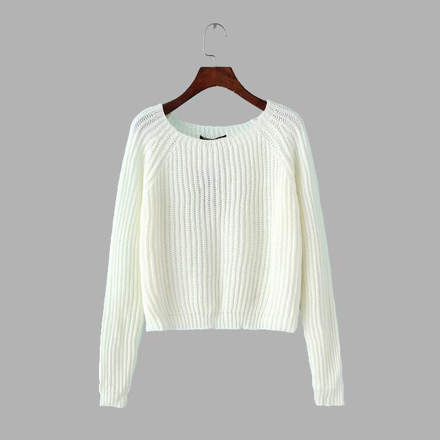 Autumn Winter Women Sweaters And Pullovers Korean Style Long Sleeve Casual Crop Sweater Slim Solid-Jackets & Coats-Simenual Dresslucky Store-white-S-EpicWorldStore.com