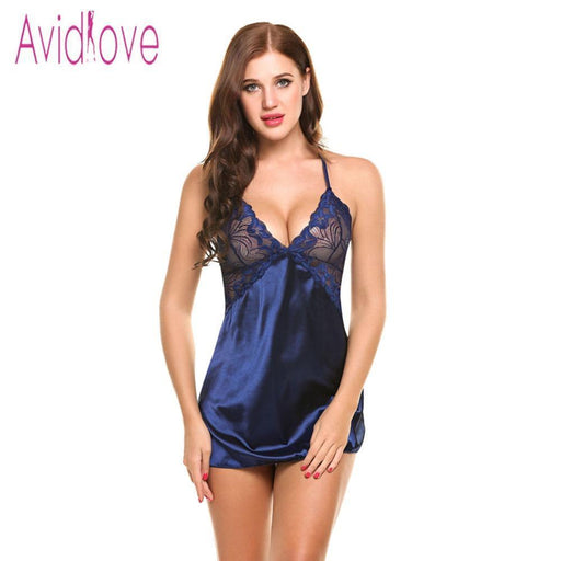 Avidlove Stylish Nightgown Lingerie Patchwork Nightdress Women Sheer Scalloped Satin-Sleep & Lounge-Avidlove Official Store-Black-S-EpicWorldStore.com