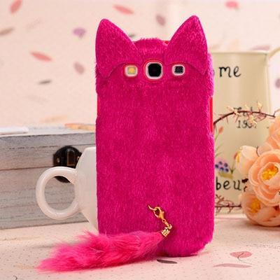 finest selection bd881 24f94 Ayeena Fluffy Ear Cat Fur Surface Soft Silicon Protective Fuzzy Phone Case  Cover For Samsung S4