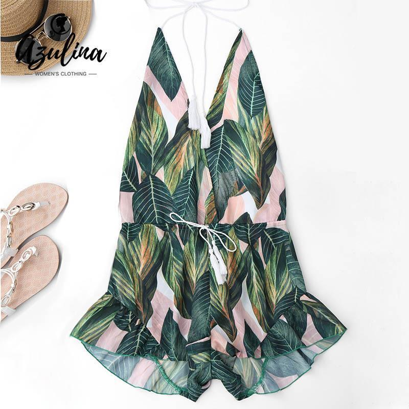 Azulina Backless Deep V Neck Stylish Halter Romper Jumpsuit Women Drawstring Leaf Print Summer-Rompers-AZULINA Official Store-S-EpicWorldStore.com