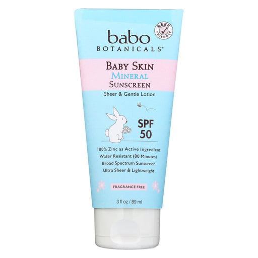 Babo Botanicals - Baby Skin Mineral Sunscreen - Spf 50 - 3 Oz.-Eco-Friendly Home & Grocery-Babo Botanicals-EpicWorldStore.com