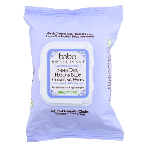 Babo Botanicals - Hand And Body Cleansing Wipes - Lavender And Meadowsweet - Case Of 4 - 30 Count-Eco-Friendly Home & Grocery-Babo Botanicals-EpicWorldStore.com