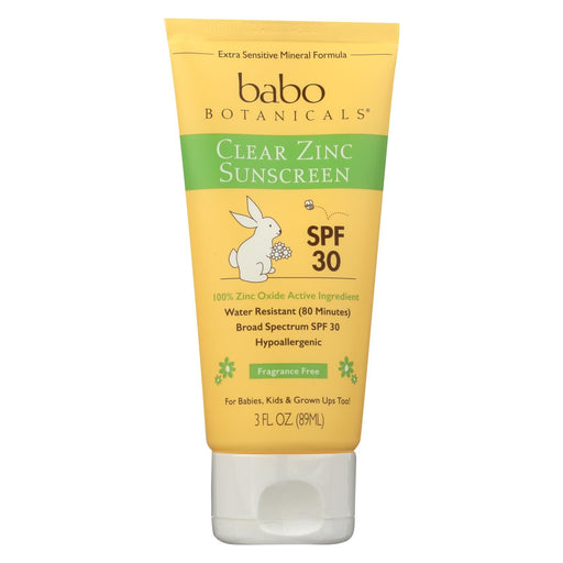 Babo Botanicals - Sunscreen - Clear Zinc Unscented Spf 30 - 3 Oz-Eco-Friendly Home & Grocery-Babo Botanicals-EpicWorldStore.com