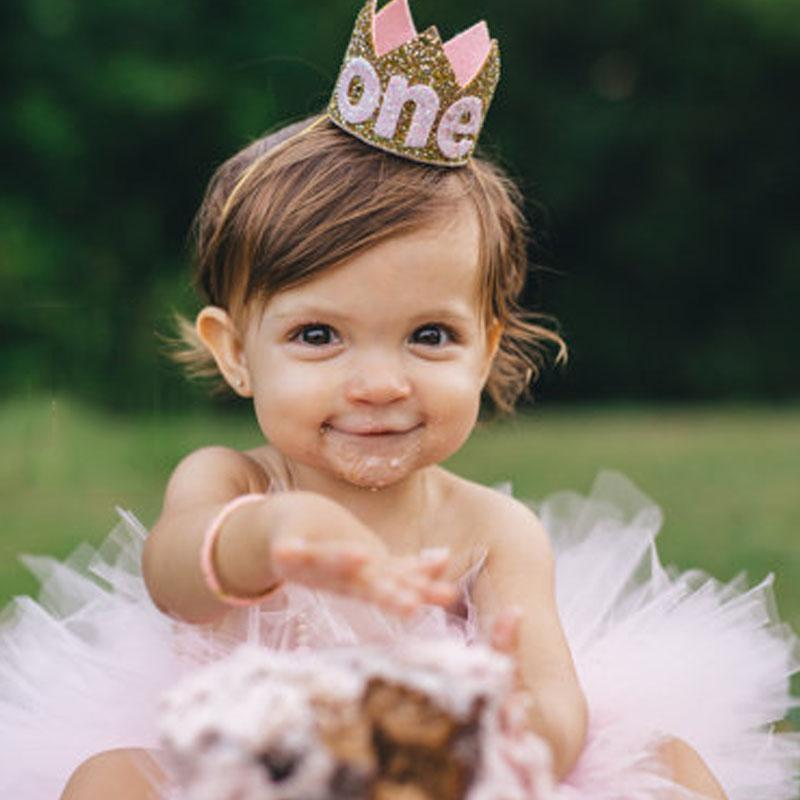 Baby Boy Girl First 1St Birthday Party Hat Gold Princess Prince Crown One Two Three Year
