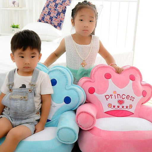 Baby Chair Toddler Nest Puff Seat Bean Bag Only Cover No Filling Baby Bean Bag Cartoon Crown Seat-Baby Furniture-tengda baby Store-purple crown cover-EpicWorldStore.com