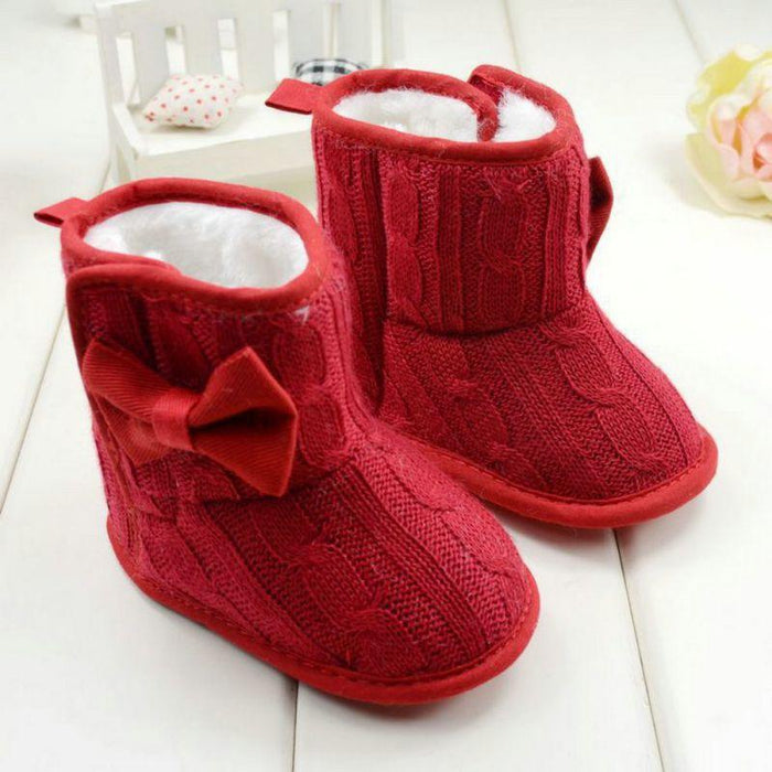 39f8bf5ba855 Baby Girl Knit Bowknot Faux Fleece Snow Boot Soft Sole Kids Warm Wool Baby  Shoes 3