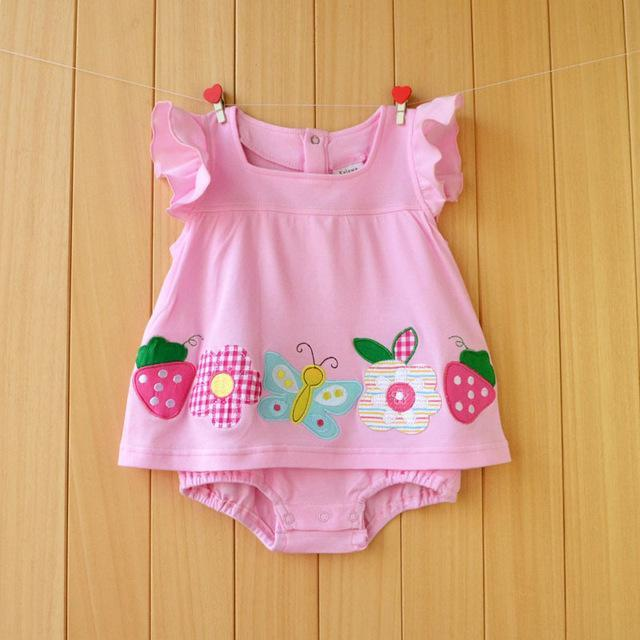 c1b4e0c39aa4 Baby Girl Rompers Summer Girls Clothing Sets Roupas Bebes Flower Newborn  Baby Clothes Cute Baby-