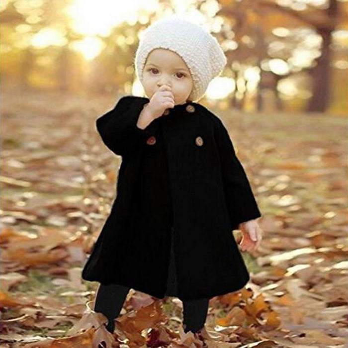 Baby Jackets Clothes Long Woolen Coats Kids Princess Cloak Button Outwear For Girls Overcoat-Jackets & Coats-Alen Xu Baby Cloths Store-Black-3T-EpicWorldStore.com