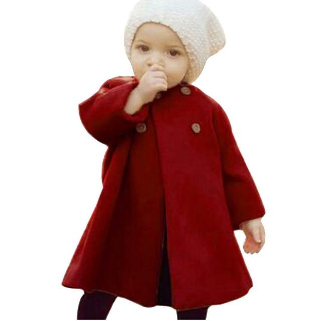Baby Jackets Clothes Long Woolen Coats Kids Princess Cloak Button Outwear For Girls Overcoat-Jackets & Coats-Alen Xu Baby Cloths Store-Deep Red-3T-EpicWorldStore.com