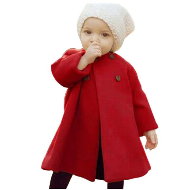 Baby Jackets Clothes Long Woolen Coats Kids Princess Cloak Button Outwear For Girls Overcoat-Jackets & Coats-Alen Xu Baby Cloths Store-Rose-3T-EpicWorldStore.com