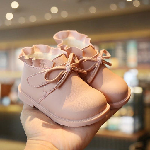 Baby Shoes Winter Warm Fur Bow Baby Girl Boots Leather Microfiber Slip On Non Slip Kids Booties-Home-KALUPAO Official Store-Black-5-EpicWorldStore.com